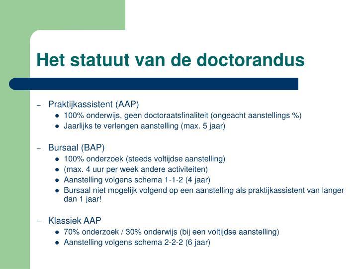Het statuut van de doctorandus