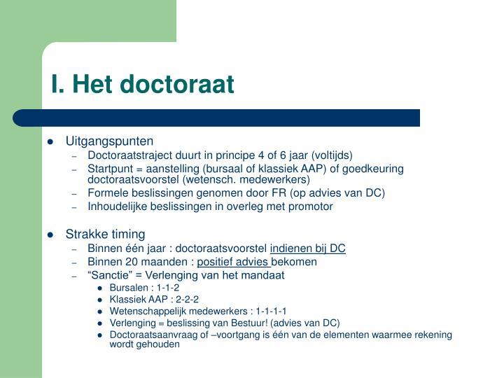 I. Het doctoraat