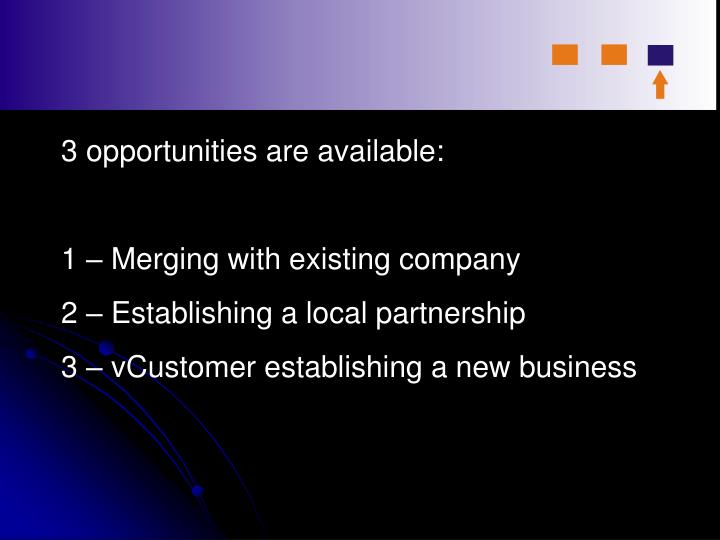 3 opportunities are available:
