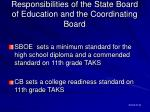 responsibilities of the state board of education and the coordinating board