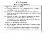 conclusiones tareas del gobierno