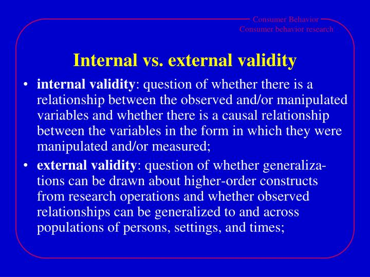 Internal vs. external validity