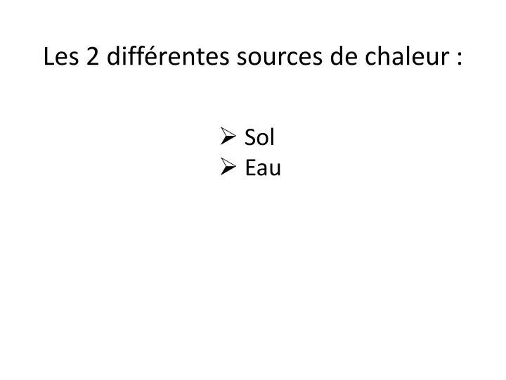 Les 2 différentes sources de chaleur: