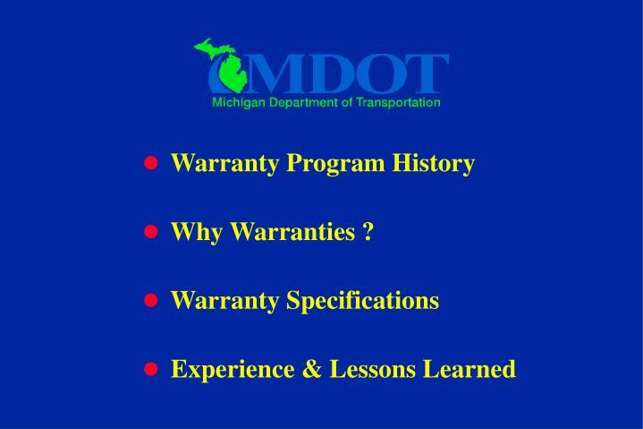 Warranty Program History