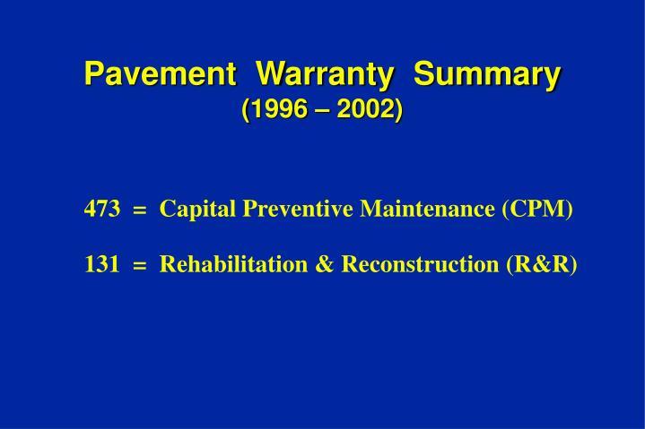 Pavement  Warranty  Summary