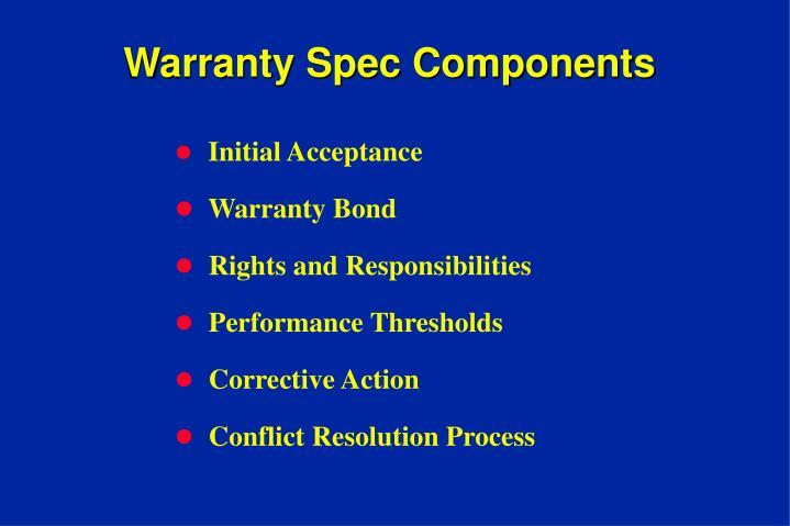 Warranty Spec Components