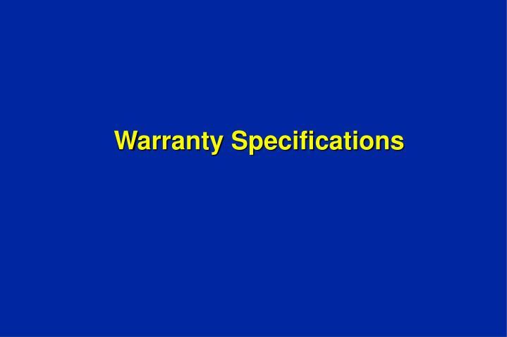 Warranty Specifications