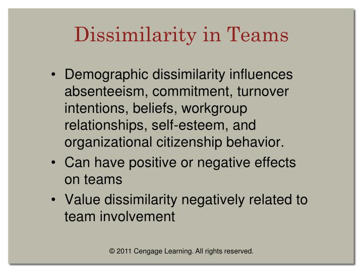 Dissimilarity in Teams