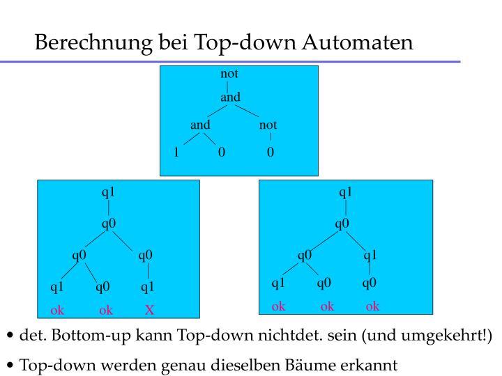 Berechnung bei Top-down Automaten