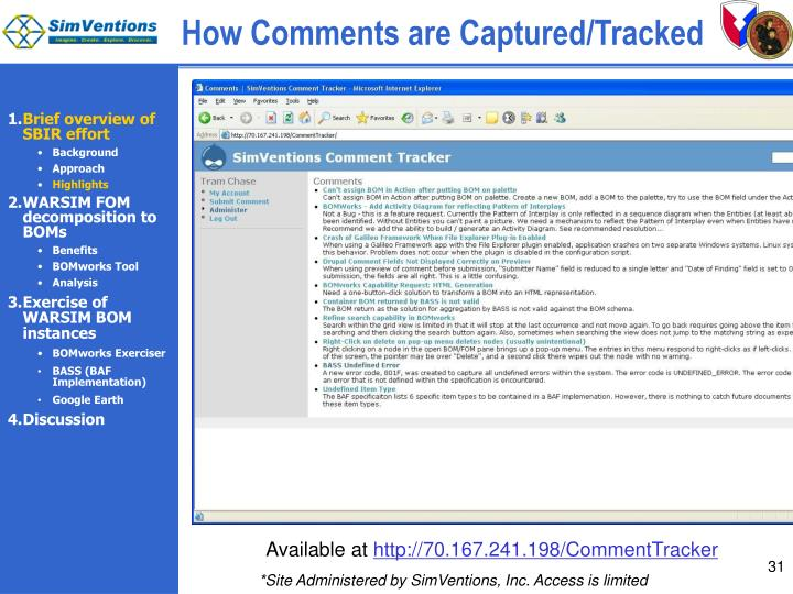 How Comments are Captured/Tracked