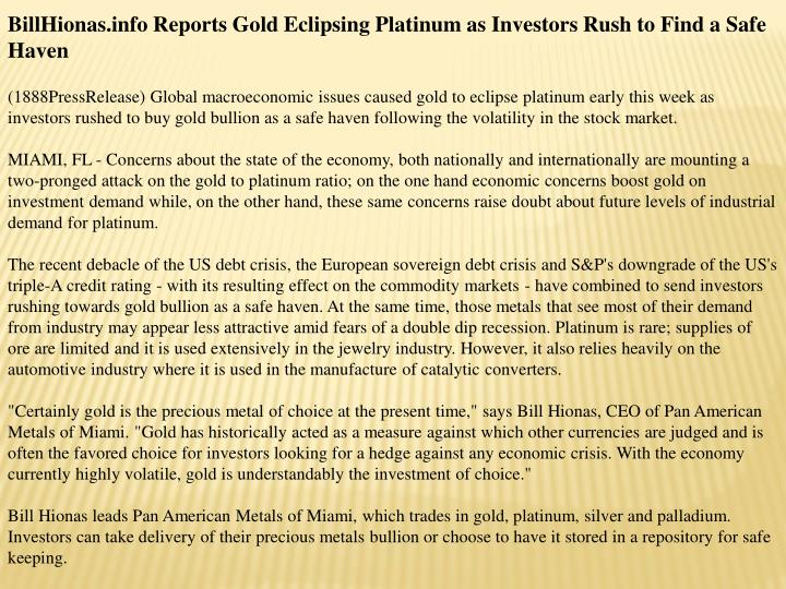 BillHionas.info Reports Gold Eclipsing Platinum as Investors Rush to Find a Safe Haven