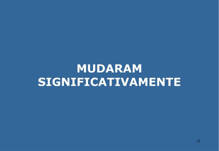 MUDARAM SIGNIFICATIVAMENTE