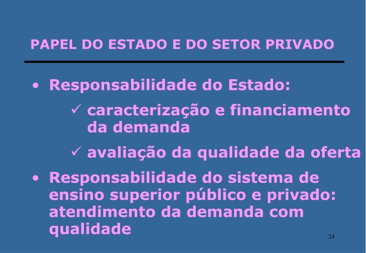 PAPEL DO ESTADO E DO SETOR PRIVADO