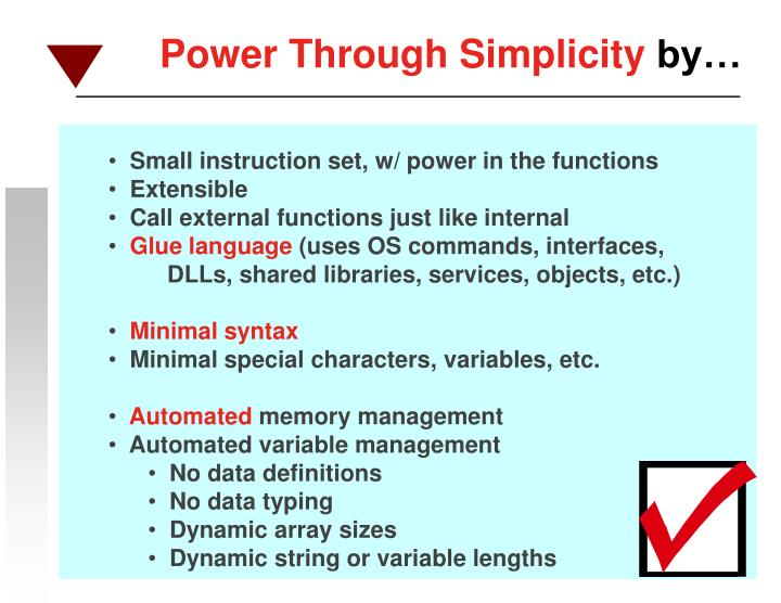 Small instruction set, w/ power in the functions