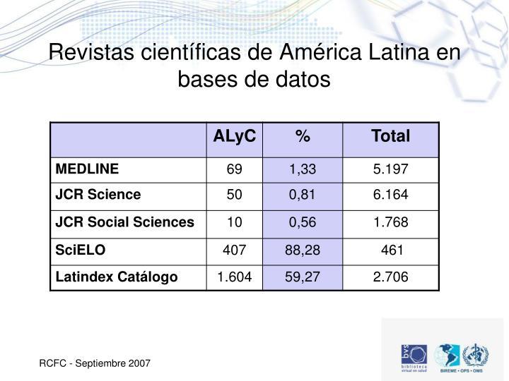 Revistas científicas de América Latina en bases de datos