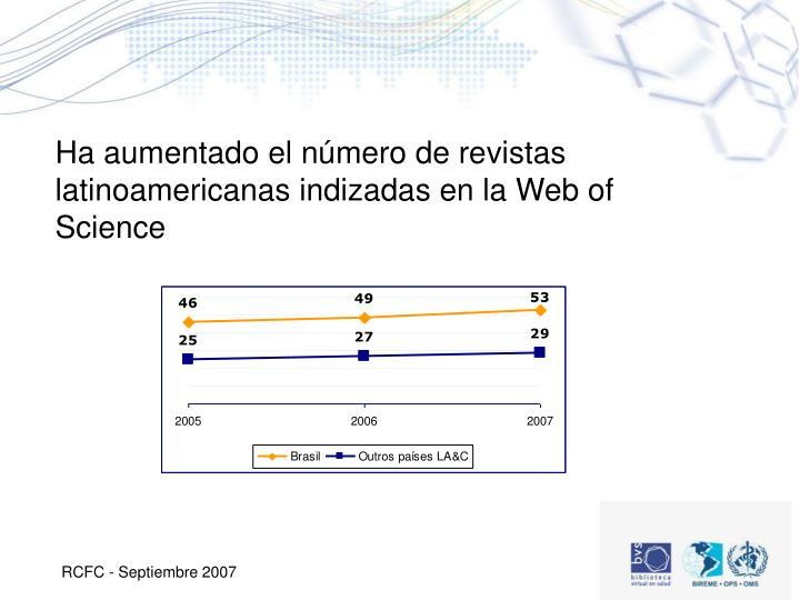 Ha aumentado el número de revistas latinoamericanas indizadas en la Web of Science