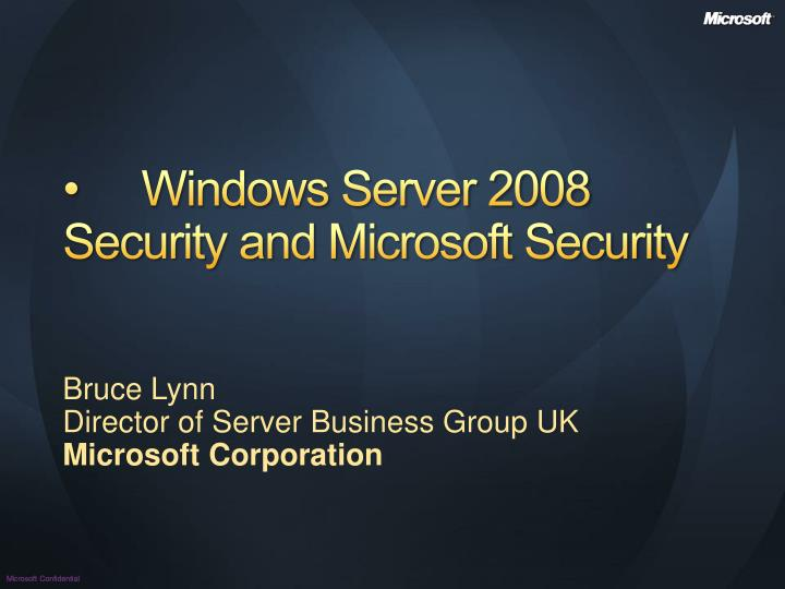 windows server 2008 security and microsoft security n.