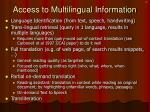access to multilingual information