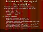 information structuring and summarization