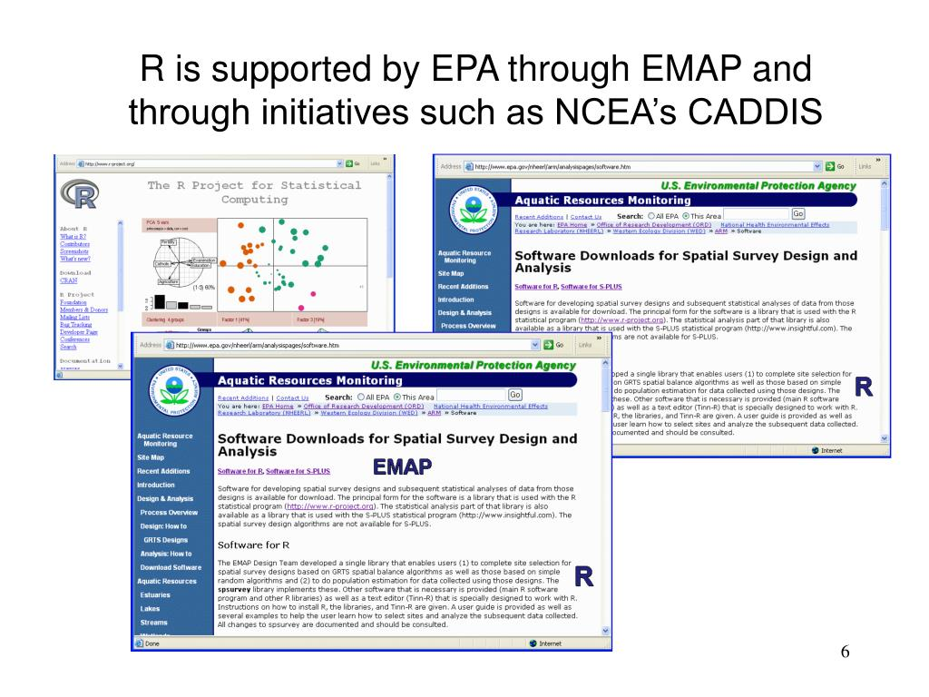 R is supported by EPA through EMAP and through initiatives such as NCEA's CADDIS