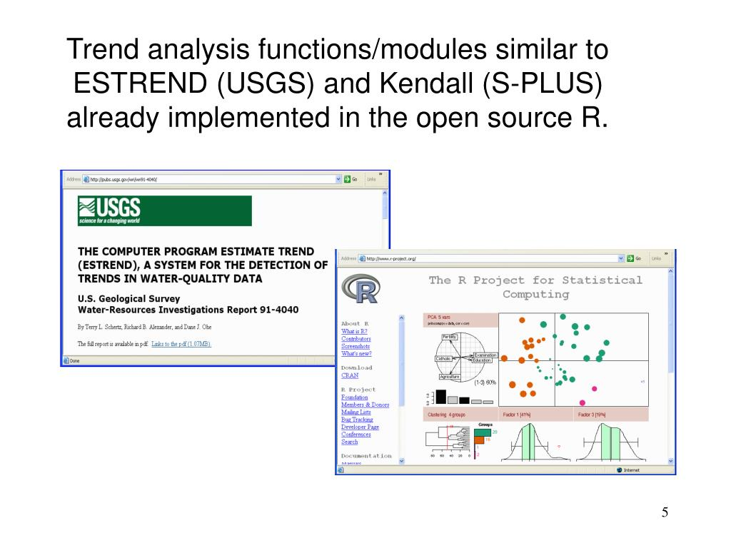 Trend analysis functions/modules similar to ESTREND (USGS) and Kendall (S-PLUS) already implemented in the open source R.