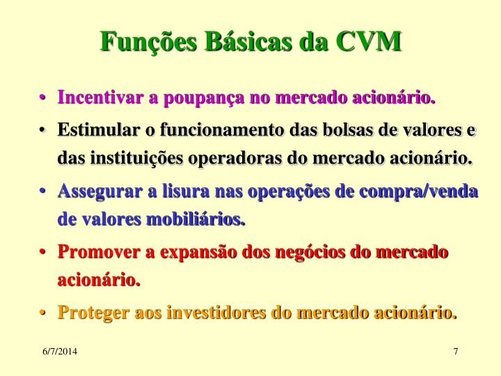 Funções Básicas da CVM