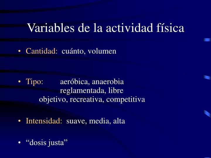 Variables de la