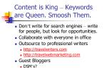 content is king keywords are queen smoosh them