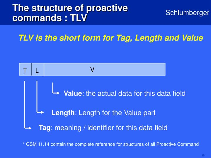 The structure of proactive commands : TLV