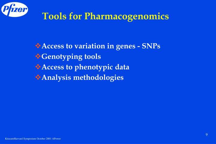 Tools for Pharmacogenomics
