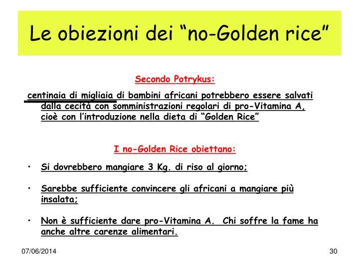 """Le obiezioni dei """"no-Golden rice"""""""
