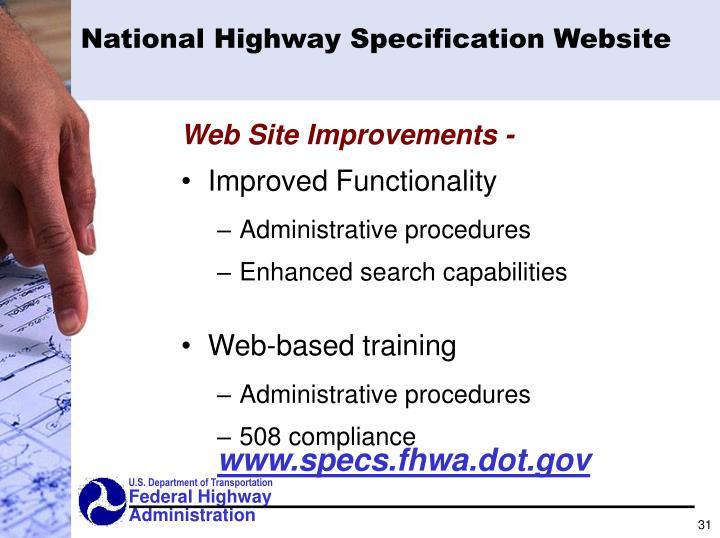 National Highway Specification Website