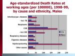 age standardized death rates at working ages per 100000 1998 99 by cause and ethnicity males