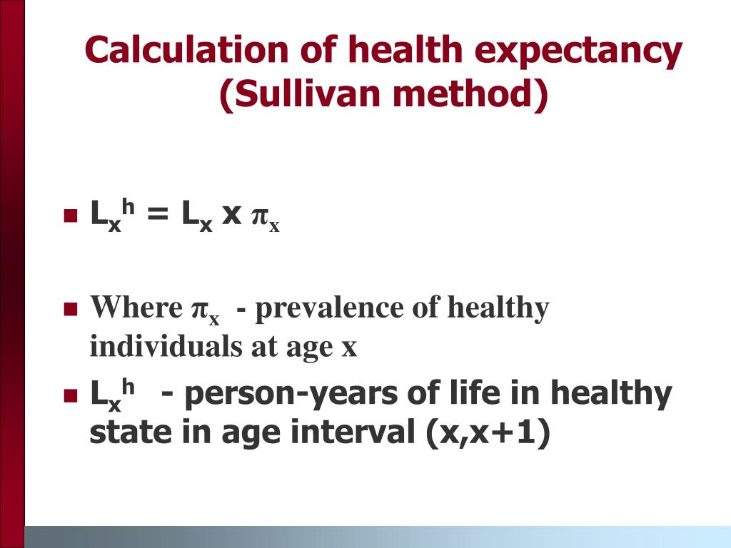 Calculation of health expectancy (Sullivan method)
