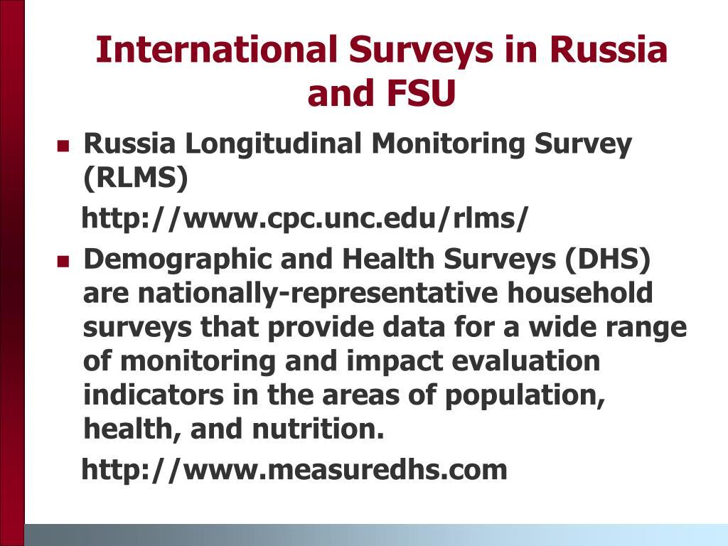 International Surveys in Russia and FSU