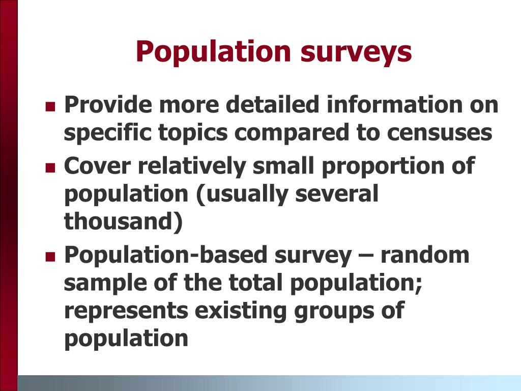 Population surveys