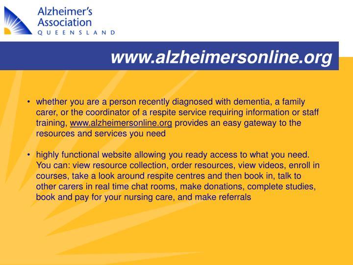 www.alzheimersonline.org