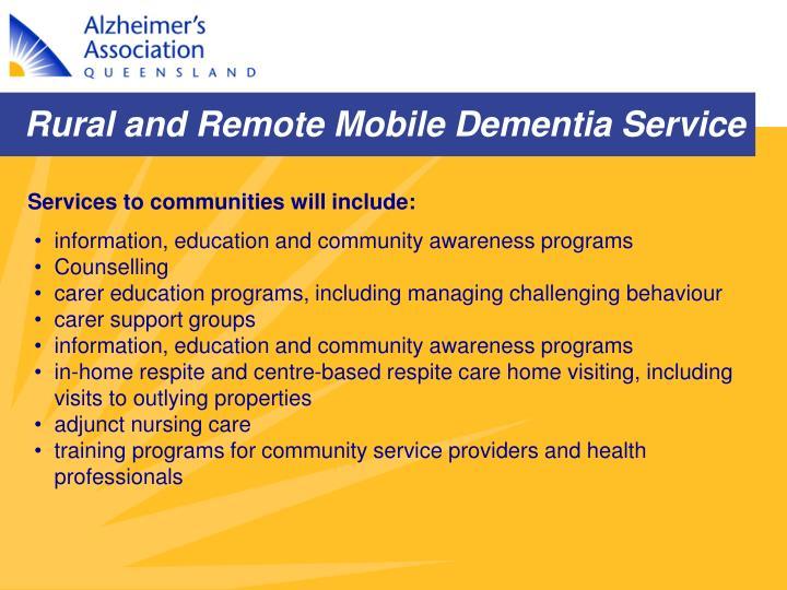 Rural and Remote Mobile Dementia Service