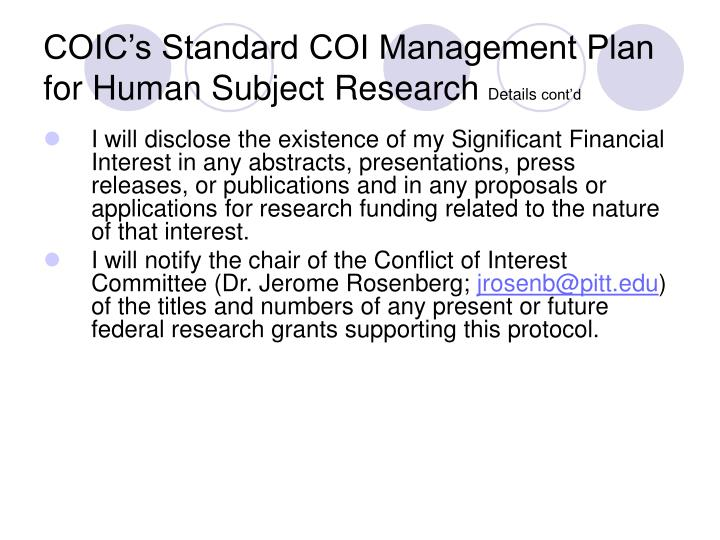 COIC's Standard COI Management Plan for Human Subject Research