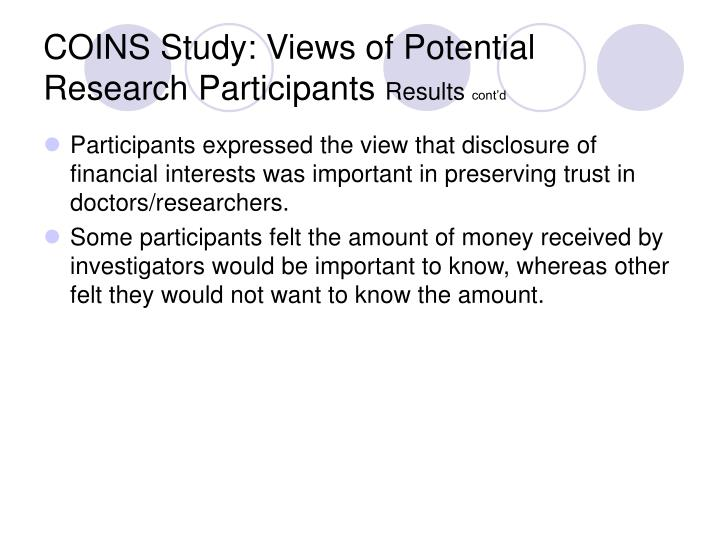 COINS Study: Views of Potential Research Participants
