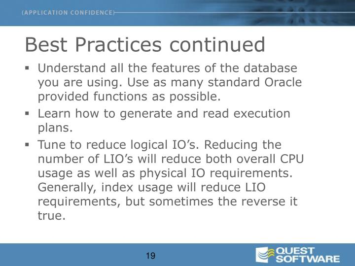 Best Practices continued