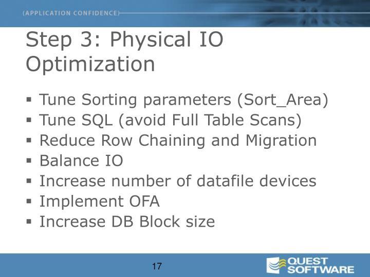 Step 3: Physical IO Optimization