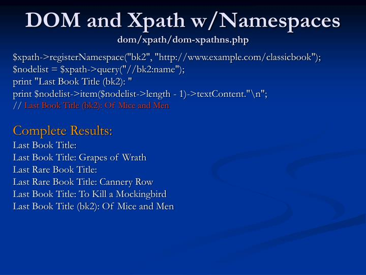 DOM and Xpath w/Namespaces