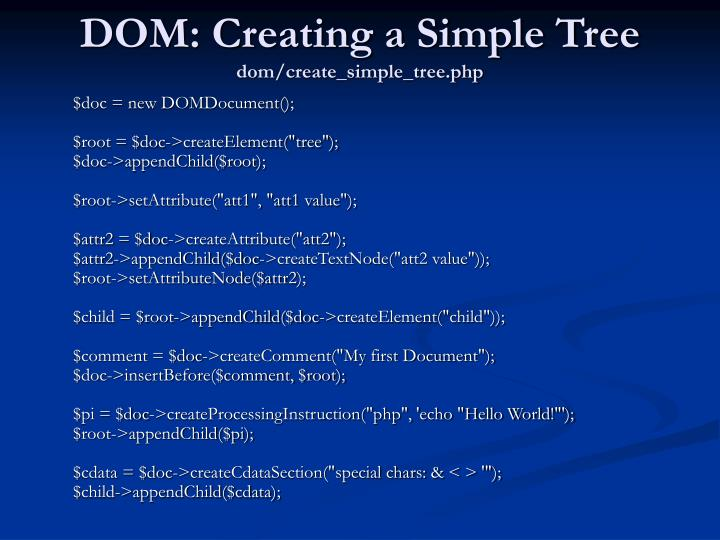 DOM: Creating a Simple Tree