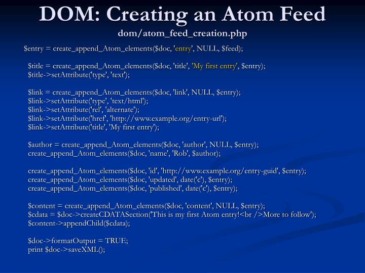 DOM: Creating an Atom Feed
