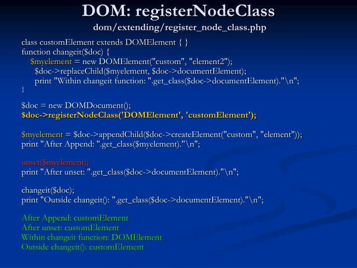 DOM: registerNodeClass