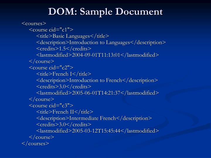 DOM: Sample Document
