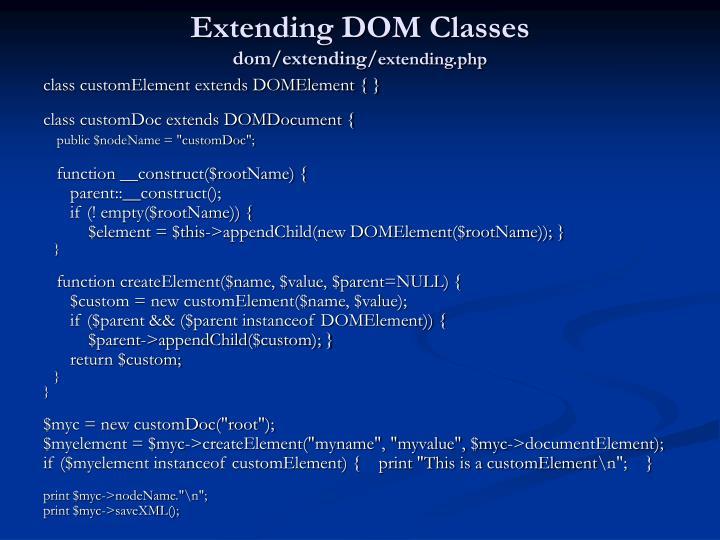 Extending DOM Classes