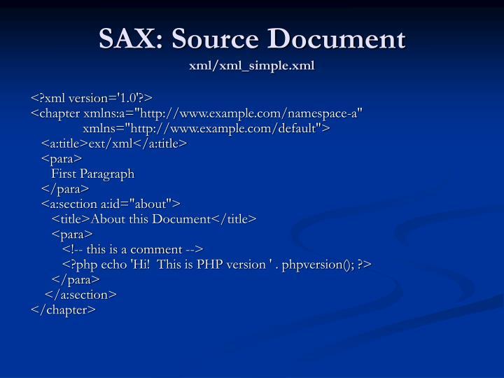 SAX: Source Document