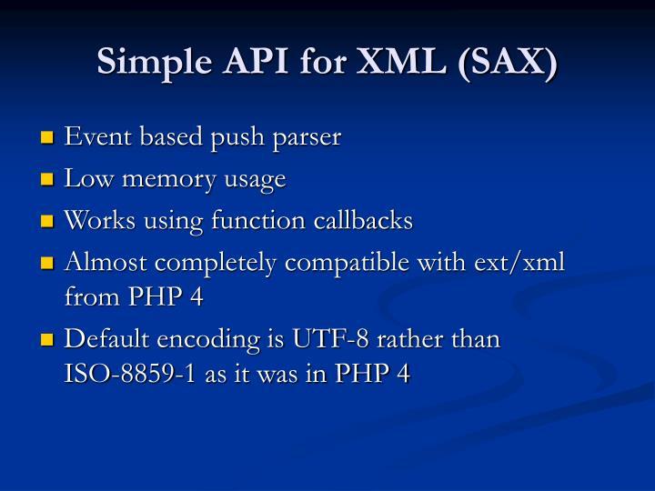 Simple API for XML (SAX)